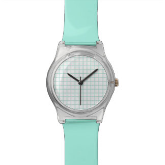 Turquoise and White Grid Face Watch