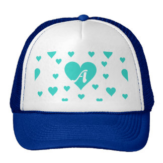 Turquoise and White Hearts Monogram Hat