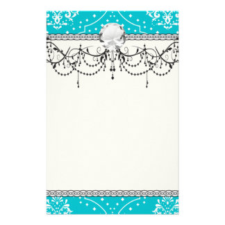 turquoise and white henna style damask stationery