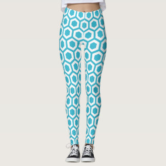 Turquoise and White Hexagon Monogram Leggings