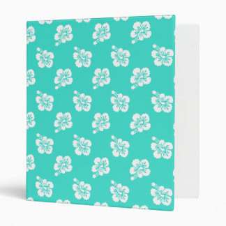 Turquoise and White Hibiscus Hawaiian Pattern Vinyl Binder