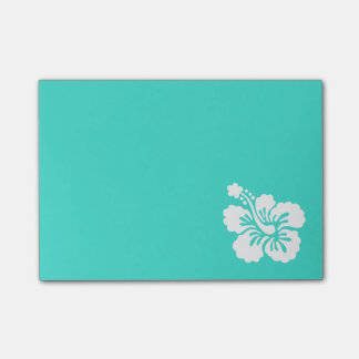 Turquoise and White Hibiscus Post-it Notes