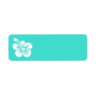 Turquoise and White Hibiscus Return Address Label