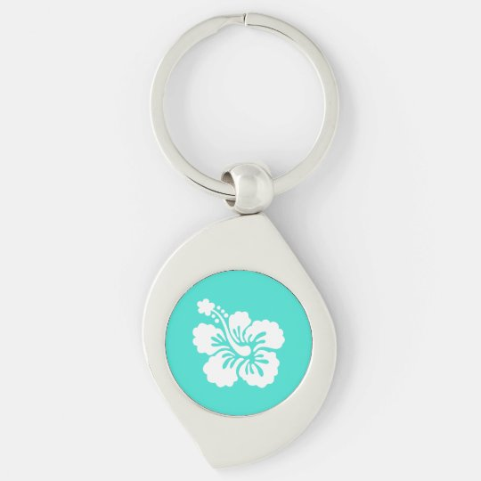 Turquoise and White Hibiscus Silver-Colored Swirl Keychain