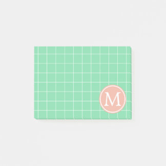 Turquoise and White Lattice With Peach Monogram Post-it Notes