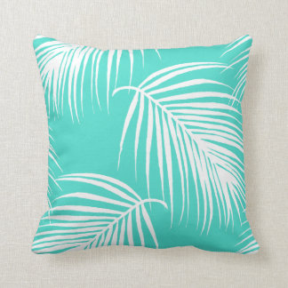 Turquoise and White Palm Tropical Throw Pillow