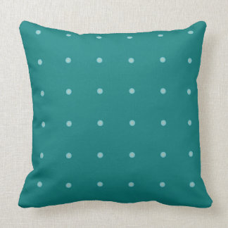Turquoise and White Polka Dots Pillow