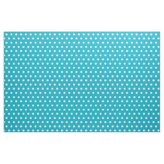 Turquoise and white polkadots pattern hobby fabric