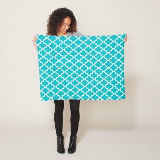 Turquoise and White Quatrefoil Pattern Fleece Blanket
