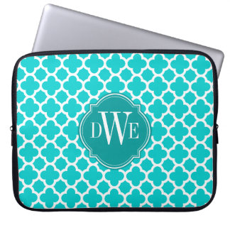 Turquoise and White Quatrefoil Pattern Monogram Laptop Sleeve
