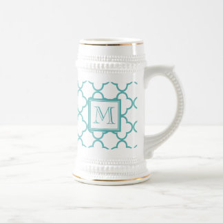 Turquoise and White Quatrefoil | Your Monogram Beer Steins