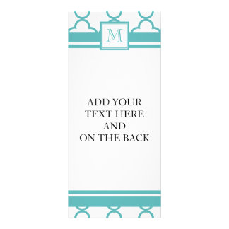 Turquoise and White Quatrefoil | Your Monogram Customized Rack Card