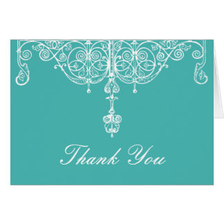 Turquoise and White Scrollwork Thank You Note Card