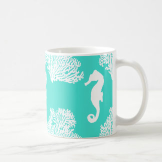 Turquoise And White Seahorse Coastal Pattern Coffee Mug