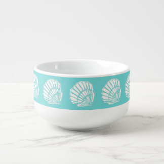 Turquoise and White Seashells Soup Mug