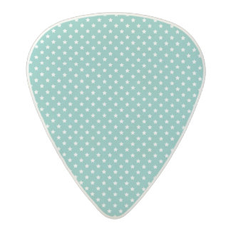 Turquoise and white star patterns acetal guitar pick