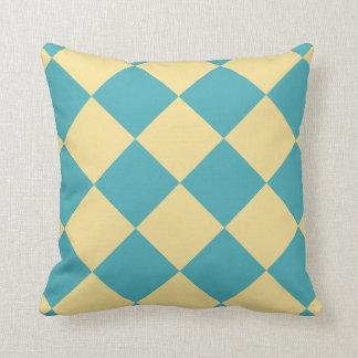 Turquoise and yellow diamond pattern throw pillow