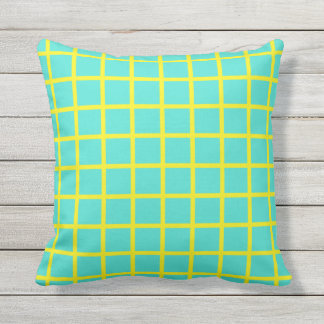Turquoise and Yellow Grid Outdoor Throw Pillow