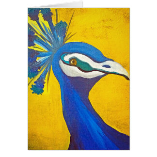 Turquoise and Yellow Peacock Card