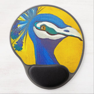 Turquoise and Yellow Peacock Gel Mouse Pad