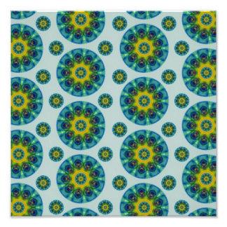 Turquoise and Yellow Retro Mandala Pattern Photo Art