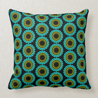 Turquoise and Yellow Sunburst on Black Throw Pillow