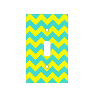 Turquoise and Yellow Zigzag Light Switch Cover