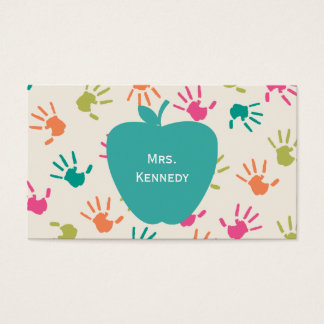 Turquoise Apple Colorful Handprints Teacher Business Card