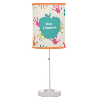Turquoise Apple Colorful Handprints Teacher Table Lamp