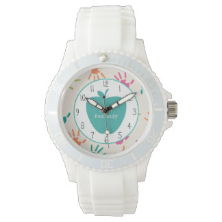 Turquoise Apple Colorful Handprints Teacher Watch