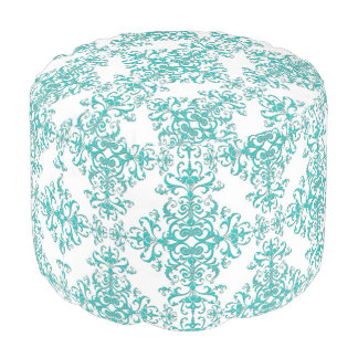 Turquoise Aqua and White Fancy Floral Damask Pouf