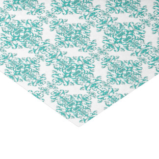 Turquoise Aqua and White Fancy Floral Damask Tissue Paper