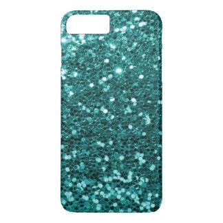 Turquoise Aqua Blue Faux Glitter Sparkle Print iPhone 7 Plus Case