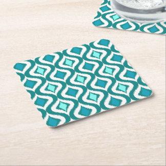 Turquoise Aqua Blue Retro Chic Ikat Drops Pattern Square Paper Coaster