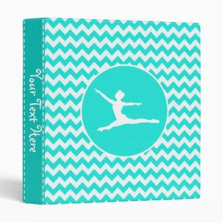Turquoise, Aqua Color Chevron; Ballet Vinyl Binder