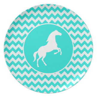 Turquoise, Aqua Color Chevron; Equestrian Dinner Plates