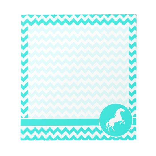 Turquoise, Aqua Colour Chevron; Equestrian Notepad