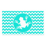 Turquoise, Aqua Colour Chevron; Frog Pack Of Standard Business Cards