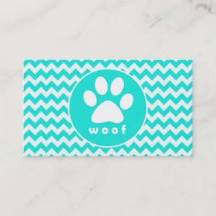 Puppy paw print business cards business card printing zazzle ca turquoise aqua colour chevron paw print business card colourmoves