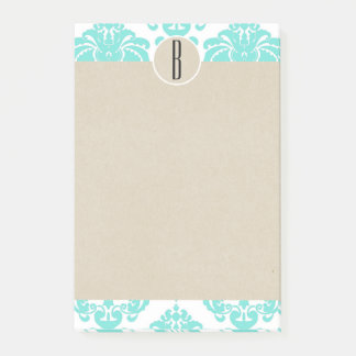 Turquoise Aqua Glam Damask Kraft Monogram Initial Post-it Notes
