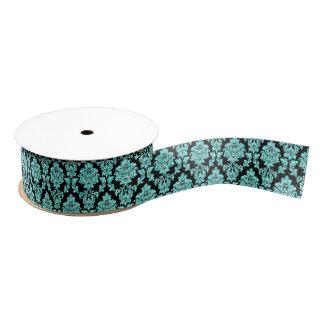 Turquoise aqua glitter black damask design grosgrain ribbon