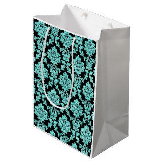 Turquoise aqua glitter black damask design medium gift bag