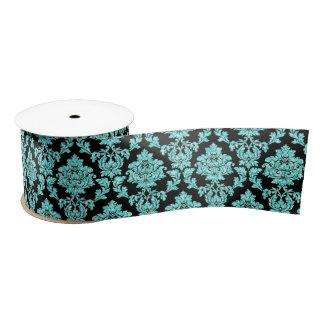 Turquoise aqua glitter black damask design satin ribbon