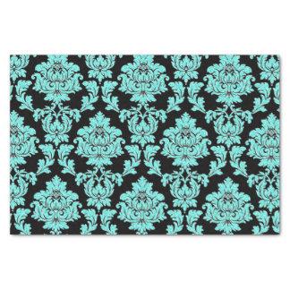 Turquoise aqua glitter black damask design tissue paper