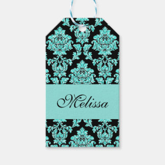 Turquoise aqua glitter black damask name design gift tags
