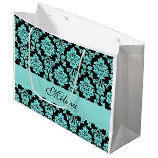 Turquoise aqua glitter black damask name design large gift bag