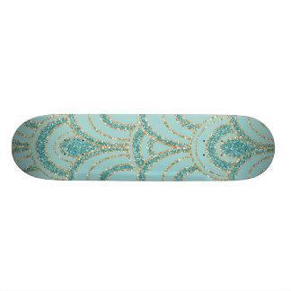 Turquoise Aqua Gold Metallic Scallop SkateBoard