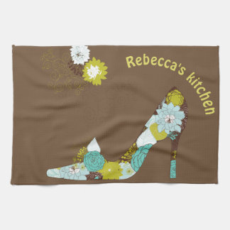 Turquoise, aqua, lime green High Heel Shoe Kitchen Towel