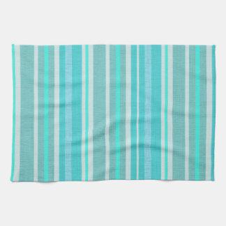 Turquoise Aqua Linen Look Striped Design Hand Towels