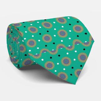 Turquoise Aqua Moroccan Print Tie
